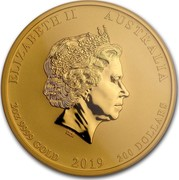 Australia 200 Dollars Year of the Pig 2019 ELIZABETH II AUSTRALIA 2 OZ 9999 GOLD 2019 200 DOLLARS IRB coin obverse