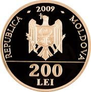 Moldova 200 Lei 650 years of Moldova 2009 Mint Set REPUBLICA - 2009 - MOLDOVA 200 LEI coin obverse