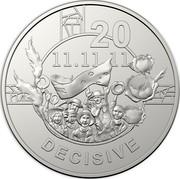 Australia 20c Anzac Spirit - Decisive 2018 20 11.11.11 DECISIVE coin reverse