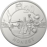 Australia 20c Anzac Spirit - Honest 2018 20 HONEST coin reverse