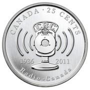 Canada 25 Cents 75th Anniversary of CBC Radio-Canada 2011 KM# 1192 CANADA ∙ 25 CENTS 1936 2011 RADIO-CANADA coin reverse