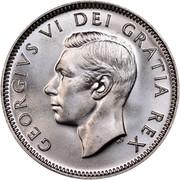 Canada 25 Cents George VI 1951 KM# 44 GEORGIVS VI DEI GRATIA REX HP coin obverse