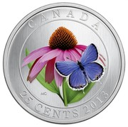 Canada 25 Cents Purple Coneflower & Eastern Tailed Blue 2013 Specimen KM# 1353 CANADA MG 25 CENTS 2013 coin reverse