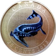 Canada 25 Cents Tylosaurus Pembinensis 2013 Proof KM# 1521 CANADA JC 25 CENTS 2013 coin reverse