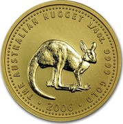 Australia 25 Dollars Kangaroo 2006 BU THE AUSTRALIAN NUGGET 1/4 OZ. 9999 GOLD 2006 coin reverse
