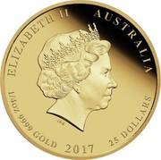 Australia 25 Dollars Victory in the Pacific 2016 P ELIZABETH II AUSTRALIA IRB 1/4 OZ 9999 GOLD 2016 25 DOLLARS coin obverse