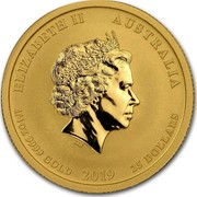 Australia 25 Dollars Year of the Pig 2019 ELIZABETH II AUSTRALIA 1/4 OZ 9999 GOLD 2019 25 DOLLARS IRB coin obverse