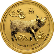 Australia 25 Dollars Year of the Pig 2019 YEAR OF THE PIG P coin reverse