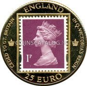 UK 25 Euro Hong Kong Returns to China 1997 CEDED TO CT.BRITAIN ENGLAND IN Q.VICTORIA'S REIGN IP 25 EURO coin obverse
