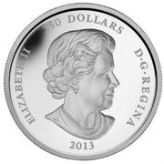 Canada 250 Dollars Canada's Arctic Landscape 2013 Proof KM# 1371 ELIZABETH II 250 DOLLARS D • G • REGINA 2013 SB coin obverse