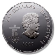 Canada 250 Dollars Early Canada 2007 Proof KM# 751 250 DOLLARS ∙ ELIZABETH II VANCOUVER 2010 2007 coin obverse