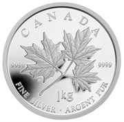 Canada 250 Dollars Maple Leaf Forever 2011 Proof KM# 1160 CANADA 9999 9999 DA 1 KG FINE SILVER ∙ ARGENT PUR coin reverse