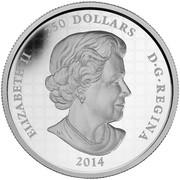 Canada 250 Dollars Maple Leaf Forever 2014 Proof KM# 1762 ELIZABETH II 250 DOLLARS D∙G∙REGINA 2014 coin obverse