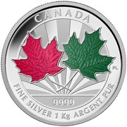 Canada 250 Dollars Maple Leaf Forever 2014 Proof KM# 1762 CANADA 9999 FINE SILVER 1 KG ARGENT PUR PL coin reverse