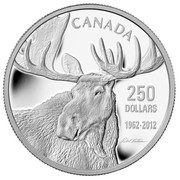 Canada 250 Dollars The Moose Family - Robert Bateman 2012 Proof KM# 1277 CANADA 250 DOLLARS 1962 - 2012 coin reverse