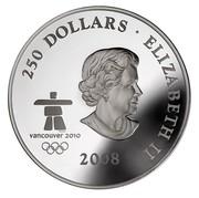 Canada 250 Dollars Towards Confederation 2008 Proof KM# 833 250 DOLLARS • ELIZABETH II VANCOUVER 2010 2008 SB coin obverse