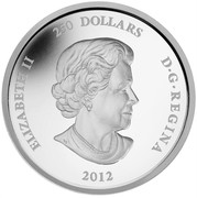 Canada 250 Dollars Year of the Dragon 2012 Proof KM# 1185 ELIZABETH II 250 DOLLARS D•G•REGINA 2012 coin obverse