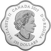Canada 250 Dollars Year of the Rooster 2017 ELIZABETH II CANADA 2017 D ∙ G ∙ REGINA 250 DOLLARS SB coin obverse