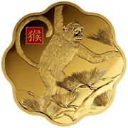 Canada 2500 Dollars Lunar Lotus Year of the Monkey 2016 Proof with Enamel CRR coin reverse