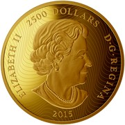 Canada 2500 Dollars Maple Leaf Forever 2015 Proof ELIZABETH II 2500 DOLLARS D∙G∙REGINA 2015 coin obverse
