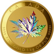Canada 2500 Dollars Maple Leaf Forever 2015 Proof CANADA 9999 FINE GOLD 1KG OR PUR 9999G coin reverse