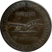 Canada 2D Currency Lesslie & Sons Token 1822  PROSPERITY TO CANADA. TOKEN 2D CURRENCY LA PRUDENCE ET LA CANDEUR coin reverse