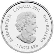 Canada 3 Dollars July Birthstone 2011 KM# 1123 ELIZABETH II CANADA 2011 D G REGINA 3 DOLLARS SB coin obverse