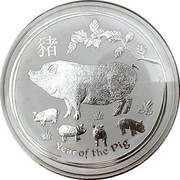 Australia 30 Dollars Year of the Pig 2019 Proof YEAR OF THE PIG P coin reverse