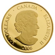 Canada 300 Dollars Crystal Snowflake 2006 Proof KM# 680 300 DOLLARS ∙ CANADA ∙ ELIZABETH II 2006 coin obverse