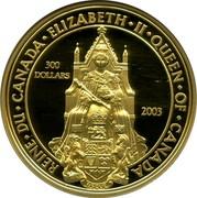 Canada 300 Dollars Great Seal of Canada 2003 Proof REINE ∙ DU ∙ CANADA ∙ ELIZABETH ∙ II ∙ QUEEN ∙ OF ∙ CANADA 300 DOLLARS 2003 coin reverse