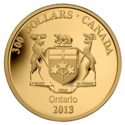 Canada 300 Dollars Ontario Coat of Arms 2013 Proof KM# 1571 300 DOLLARS ∙ CANADA VT INCEPIT FIDELIS SIC PERMANET ONTARIO 2013 coin reverse