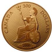 Canada 300 Dollars Shinplaster Vignette of Britannia 2006 Proof KM# 595 CANADA 300 DOLLARS 2006 coin reverse