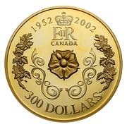 Canada 300 Dollars Triple Cameo Queen Elizabeth II 1952-2002 KM# 501 1952 - 2002 EIIR CANADA 300 DOLLARS coin reverse