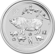Australia 300 Dollars Year of the Pig 2019 YEAR OF THE PIG P coin reverse