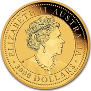 Australia 3000 Dollars Australian Kangaroo 2019 ELIZABETH II AUSTRALIA • 3000 DOLLARS • JC coin obverse