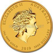 Australia 3000 Dollars (Year of the Pig)  coin obverse