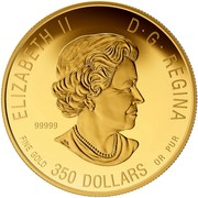 Canada 350 Dollars Imposing Alpha Wolf 2015 Proof ELIZABETH II D· G· REGINA 99999 FINE GOLD 350 DOLLARS OR PUR coin obverse