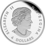 Canada 4 Dollars Bald Eagle 2015 ELIZABETH II D • G • REGINA 4 DOLLARS SB coin obverse