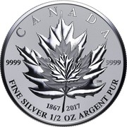 Canada 4 Dollars Fractional Maple Leaf Tribute 2017 Reverse Proof CANADA 9999 9999 1867 2017 FINE SILVER 1/2 OZ ARGENT PUR SW coin reverse