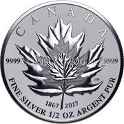 Canada 4 Dollars Fractional Maple Leaf Tribute 9999 1867 2017 Fine Silver