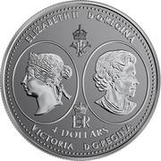 Canada 4 Dollars Queen Victoria 200th Anniversary 2019 Reverse Proof ELIZABETH II D • G • REGINA 4 DOLLARS VICTORIA D • G • REGINA SB coin obverse