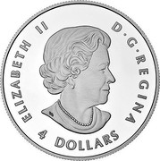 Canada 4 Dollars The Wolf 2016 ELIZABETH II D • G • REGINA 4 DOLLARS SB coin obverse