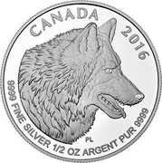 Canada 4 Dollars The Wolf 2016 CANADA 2016 9999 FINE SILVER 1/2 OZ ARGENT PUR 9999 PL coin reverse