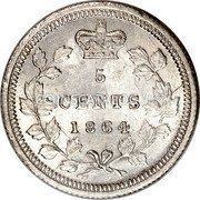 Canada 5 Cent Victoria 1864 Large 6 KM# 7 5 CENTS DATE coin reverse
