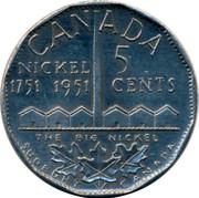 Canada 5 Cents The big Nickel 1951 CANADA NICKEL 1751-1951 5 CENTS THE BIG NICKEL coin reverse