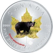 Canada 5 Dollars Grizzly 2015 CANADA 9999 9999 FINE SILVER 1 OZ ARGENT PUR URSUS AMERICANUS coin reverse