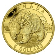 Canada 5 Dollars Grizzly Bear 2014 Proof KM# 1611 CANADA 2014 5 DOLLARS coin reverse