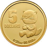 Australia 5 Dollars Little Dinkums Tasmanian Devil 2010 5 DOLLARS 1/25 OZ 99.99 AU coin reverse