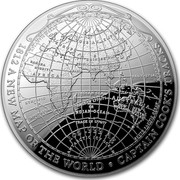 Australia 5 Dollars Map of the World 2019 1812 A NEW MAP OF THE WORLD • CAPTAIN COOK'S TRACKS 1 OZ .999 AG coin reverse