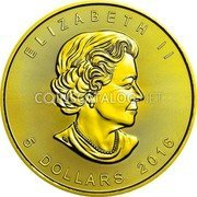 Canada 5 Dollars (Maple Leaf - Electric Motive Edition)  coin obverse